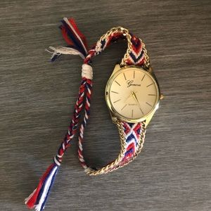 Braided Aztec Watch. Red, White, Blue patterned.